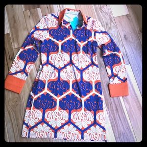 Vibrant, bold midi print dress by Tracy Negoshian